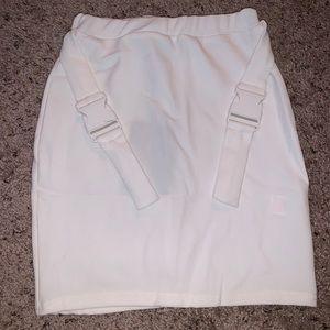 Pretty Little Thing Cream Buckle detail mini skirt